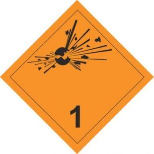"""Знаки перевозки опасных грузов """"КЛАСС 1, ВЗРЫВЧАТЫЕ ВЕЩЕСТВА И ИЗДЕЛИЯ"""" (наклейка)"""